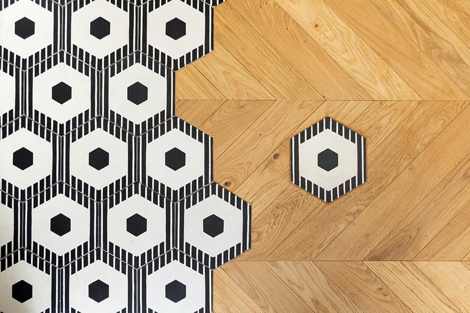 Rénovation haussmannien - carreaux de ciment Beauregard et parquet point de Hongrie - Architecte intérieur Paris - Studio Mariekke