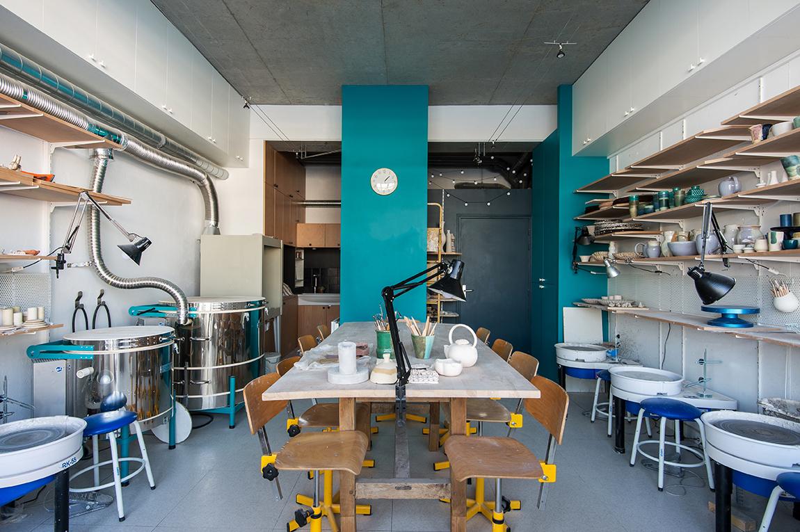 Atelier - Concept store céramiste L'atelier au bord de l'Ô - Architecte d'intérieur Studio Mariekke - Paris